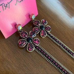 Long Betsey Johnson leopard print flower earrings